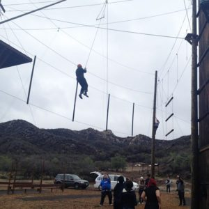 Guides on a high ropes course with Ánimo Leadership Charter High School | arc Adventure
